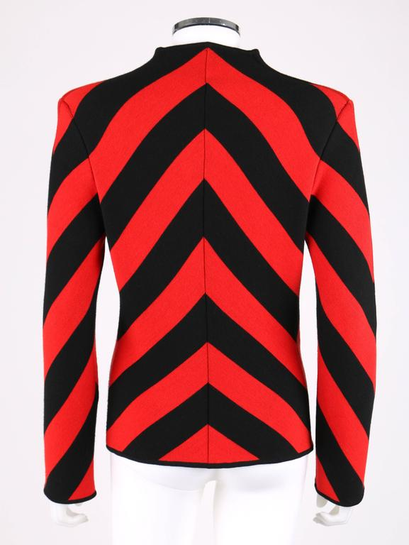GIVENCHY COUTURE A/W 1998 ALEXANDER McQUEEN Black Red Stripe Wool Knit Blazer  4