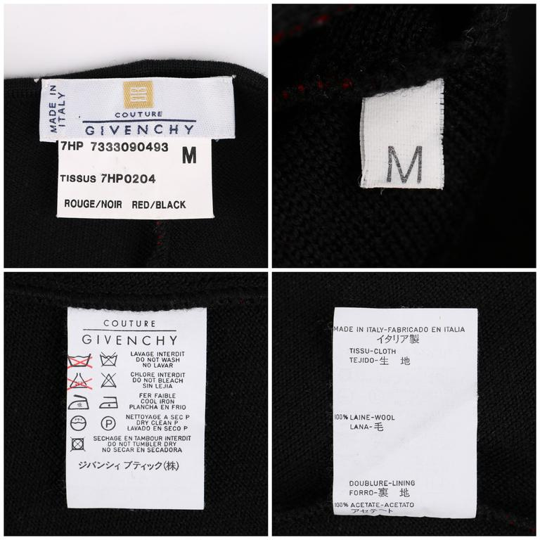 GIVENCHY COUTURE A/W 1998 ALEXANDER McQUEEN Black Red Stripe Wool Knit Blazer  7