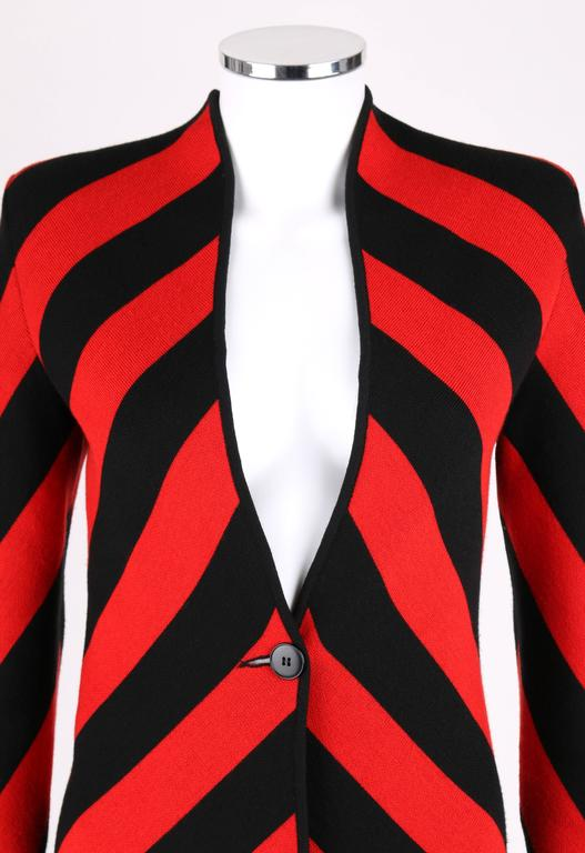 GIVENCHY COUTURE A/W 1998 ALEXANDER McQUEEN Black Red Stripe Wool Knit Blazer  5