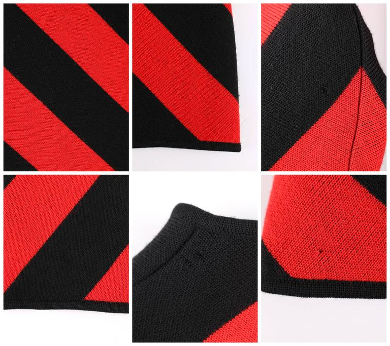 GIVENCHY COUTURE A/W 1998 ALEXANDER McQUEEN Black Red Stripe Wool Knit Blazer  10