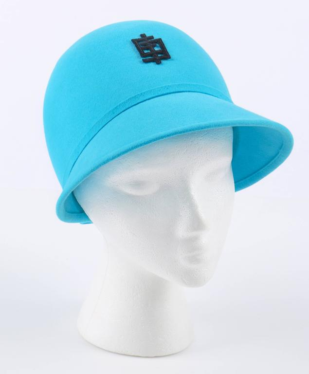 9cb4bb96bca Vintage c.1960 s Emilio Pucci robin egg blue cloche style hat. Wool felt  shell