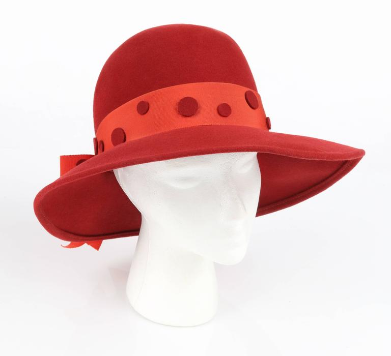 424aafc20dd69 Vintage Pierre Cardin c.1960 s red wool felt mod fedora style hat. Wide  turned