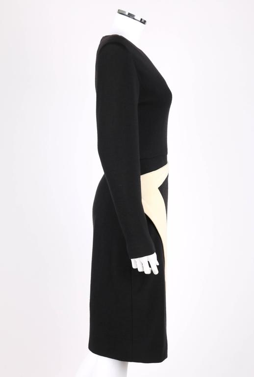 GALANOS c.1980's Black Ivory Avant Garde Zig Zag Panel Wool Knit Cocktail Dress In Excellent Condition For Sale In Thiensville, WI