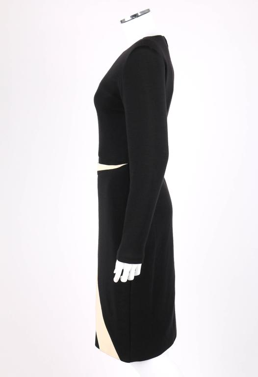 GALANOS c.1980's Black Ivory Avant Garde Zig Zag Panel Wool Knit Cocktail Dress For Sale 1