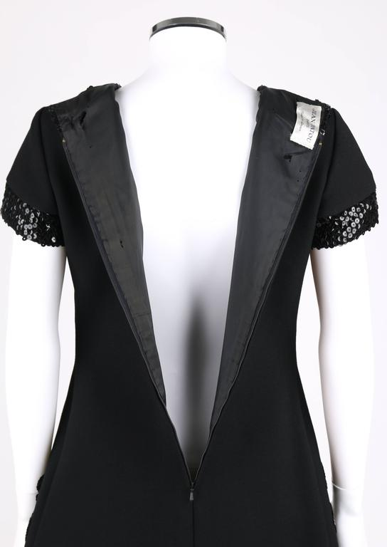 JEAN PATOU c.1960's KARL LAGERFELD Black Sequin Camellia Flower Cocktail Dress For Sale 2