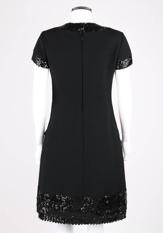 Women's JEAN PATOU c.1960's KARL LAGERFELD Black Sequin Camellia Flower Cocktail Dress For Sale