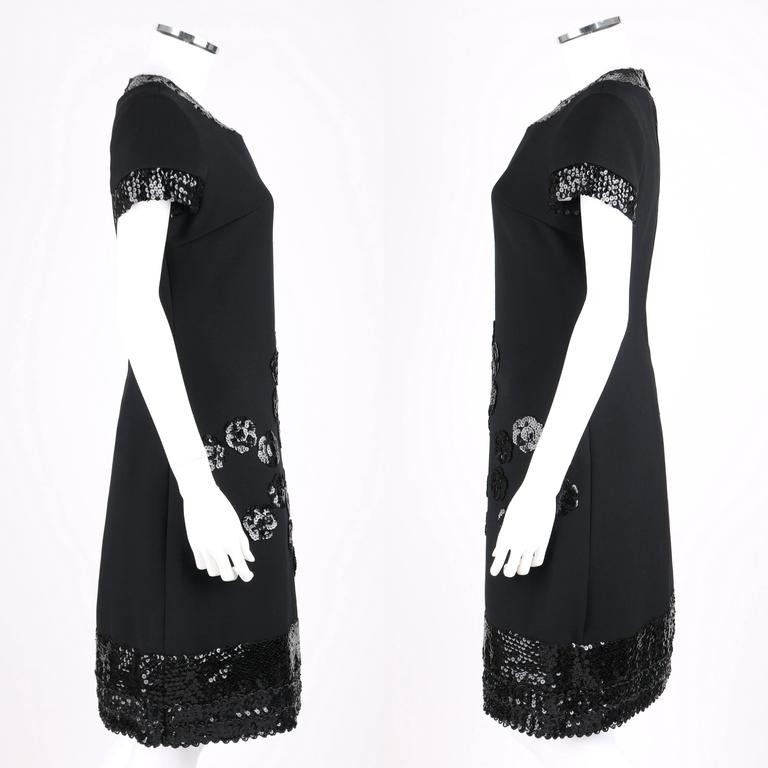 JEAN PATOU c.1960's KARL LAGERFELD Black Sequin Camellia Flower Cocktail Dress In Excellent Condition For Sale In Thiensville, WI