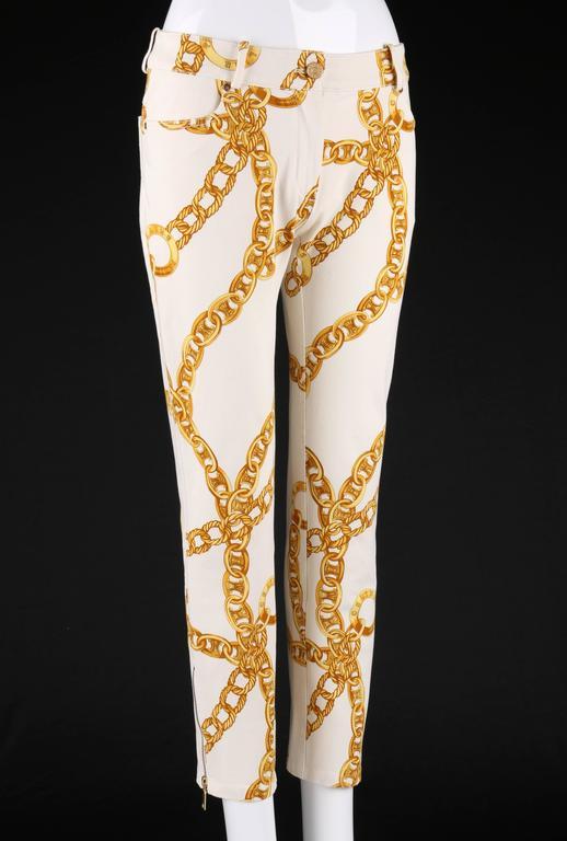 CELINE Spring 2004 MICHAEL KORS Signature Chain Print Cropped Pants 36 2