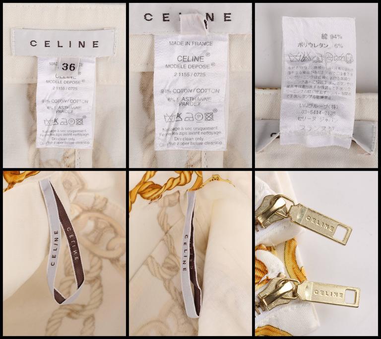 CELINE Spring 2004 MICHAEL KORS Signature Chain Print Cropped Pants 36 9
