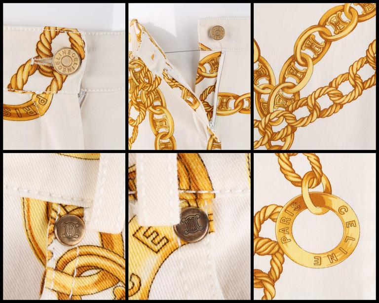 CELINE Spring 2004 MICHAEL KORS Signature Chain Print Cropped Pants 36 8