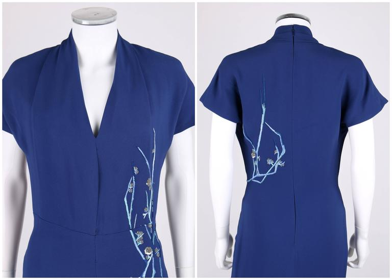 GIVENCHY Couture A/W 1998 ALEXANDER McQUEEN Royal Blue Floral Embroidered Dress For Sale 1