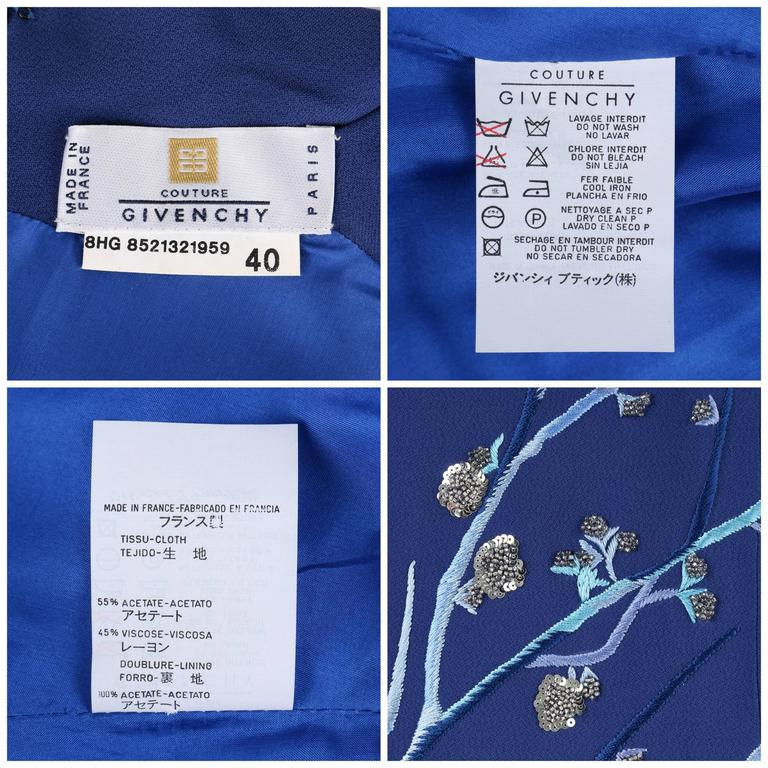 GIVENCHY Couture A/W 1998 ALEXANDER McQUEEN Royal Blue Floral Embroidered Dress For Sale 3