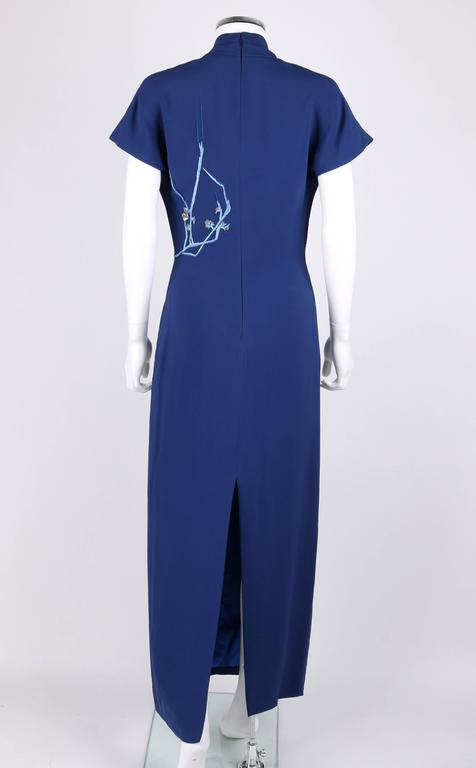 GIVENCHY Couture A/W 1998 ALEXANDER McQUEEN Royal Blue Floral Embroidered Dress 3