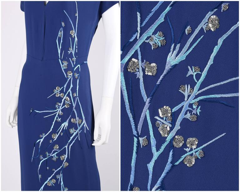 Women's GIVENCHY Couture A/W 1998 ALEXANDER McQUEEN Royal Blue Floral Embroidered Dress For Sale
