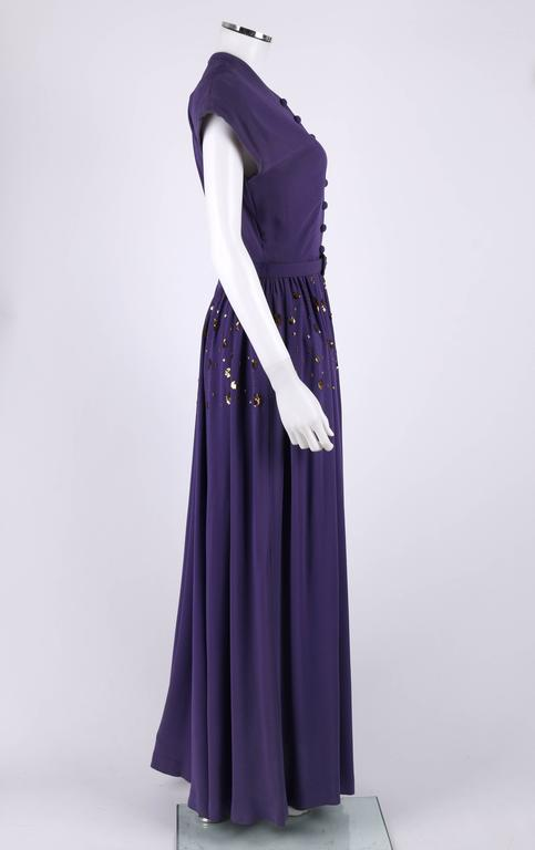 Couture C 1940 S Purple Gold Belted Sequin Embellished