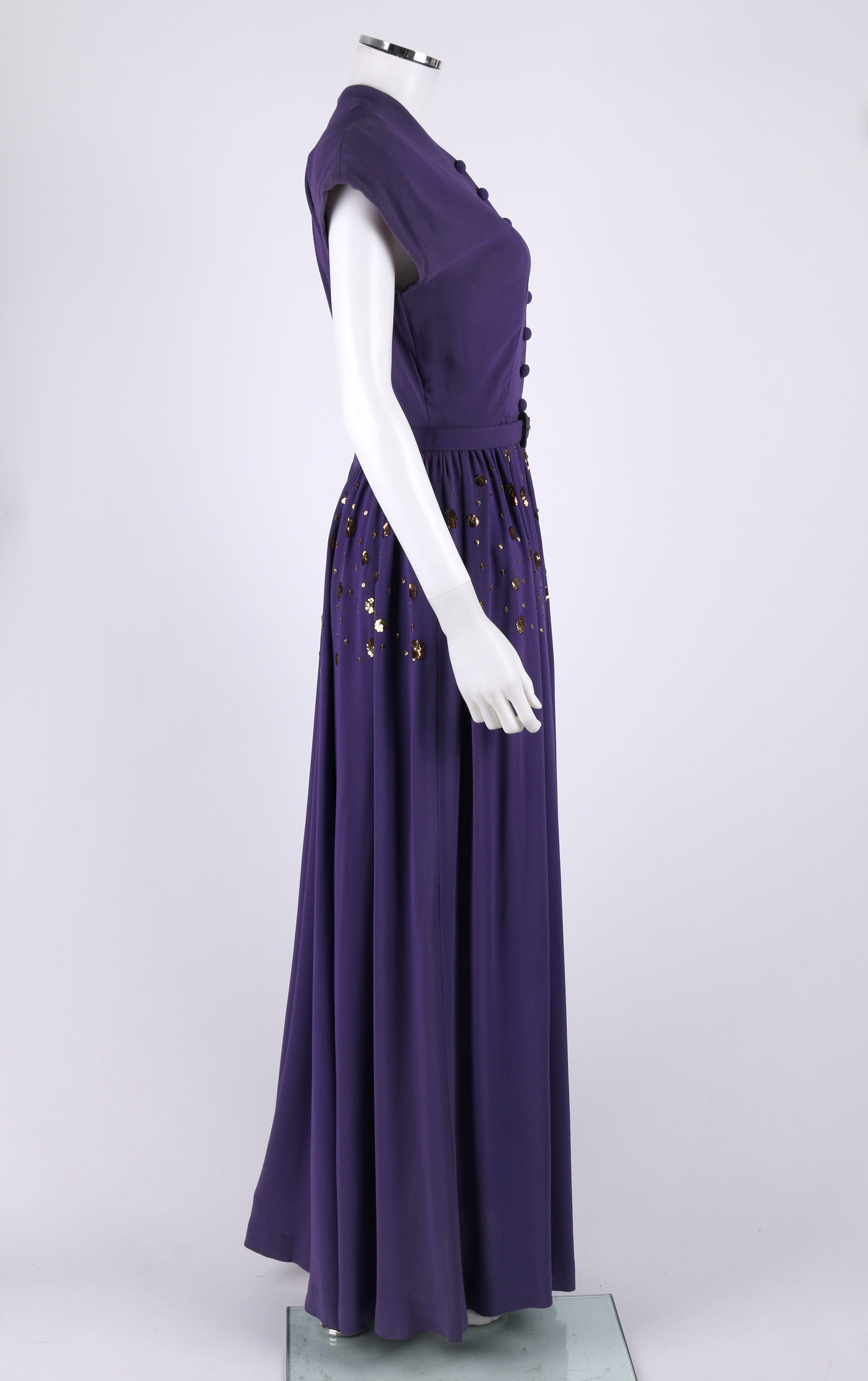 COUTURE c.1940 s Purple Gold Belted Sequin Embellished Evening Dress Gown  For Sale at 1stdibs 97687cd56