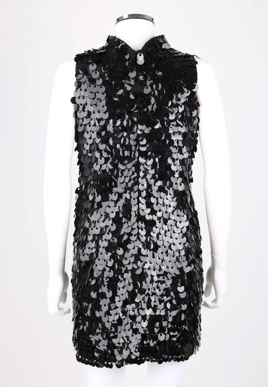 PIERRE BALMAIN c.1960's Black Paillette Hanging Knit Shift Cocktail Go Go Dress In Excellent Condition For Sale In Thiensville, WI