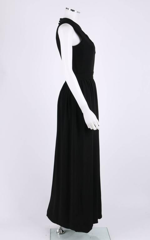 DONALD BROOKS c.1960's Black Belted Sleeveless Keyhole Dress Evening Gown For Sale 1