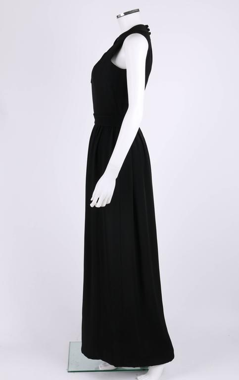 DONALD BROOKS c.1960's Black Belted Sleeveless Keyhole Dress Evening Gown 3