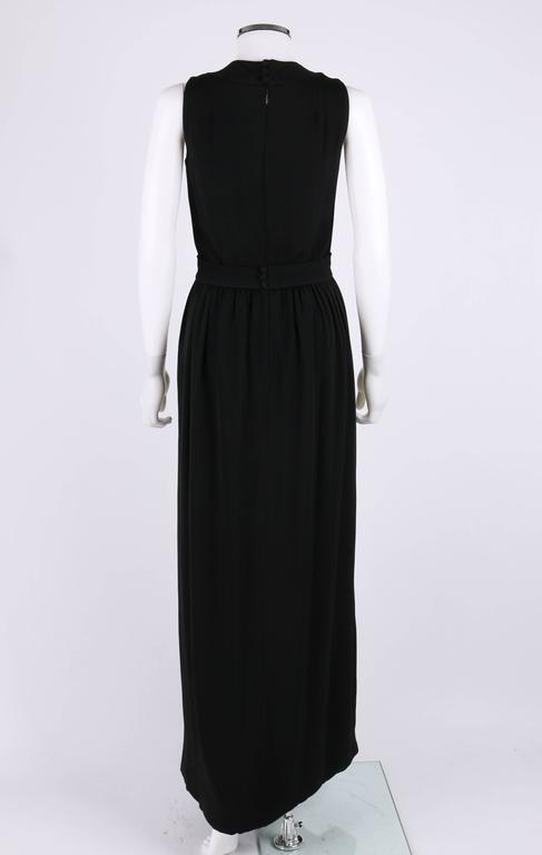Women's DONALD BROOKS c.1960's Black Belted Sleeveless Keyhole Dress Evening Gown For Sale