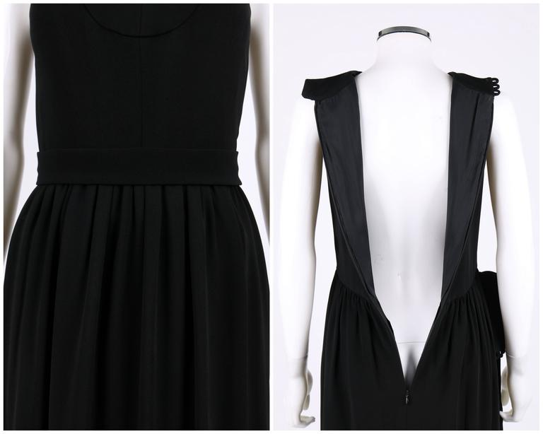 DONALD BROOKS c.1960's Black Belted Sleeveless Keyhole Dress Evening Gown 7