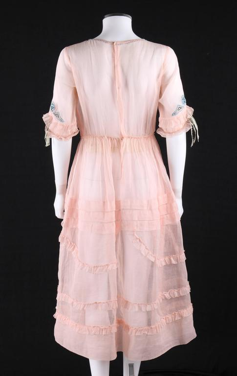 COUTURE Late 1910's Edwardian Pink Silk Organza Embroidered Sheer Day Dress In Excellent Condition For Sale In Thiensville, WI