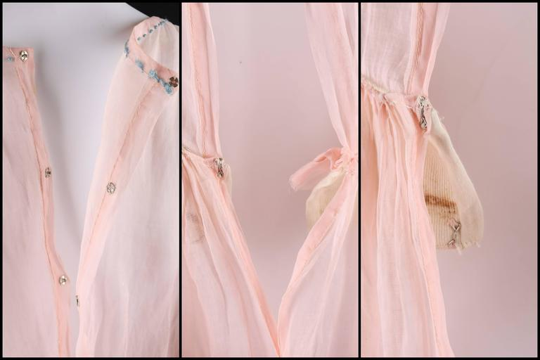 COUTURE Late 1910's Edwardian Pink Silk Organza Embroidered Sheer Day Dress For Sale 2