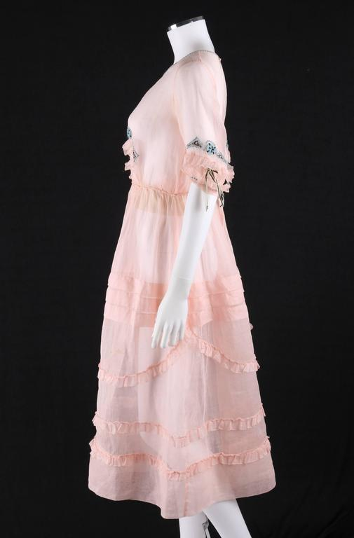 Women's COUTURE Late 1910's Edwardian Pink Silk Organza Embroidered Sheer Day Dress For Sale
