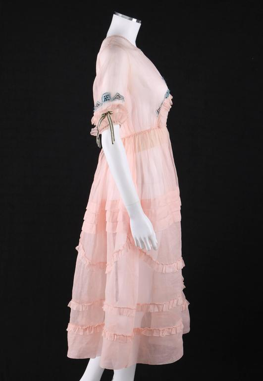 Beige COUTURE Late 1910's Edwardian Pink Silk Organza Embroidered Sheer Day Dress For Sale