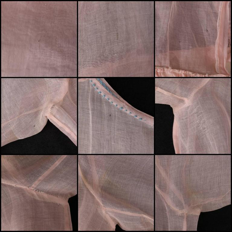 COUTURE Late 1910's Edwardian Pink Silk Organza Embroidered Sheer Day Dress For Sale 5