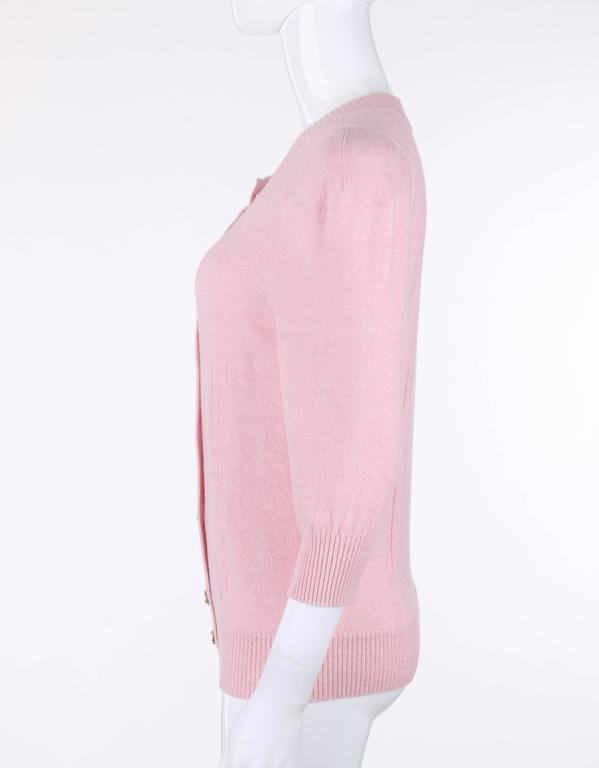 CHANEL Resort 2013 Light Pink Cashmere Linen 3/4 Sleeve Knit Cardigan Sweater For Sale 2