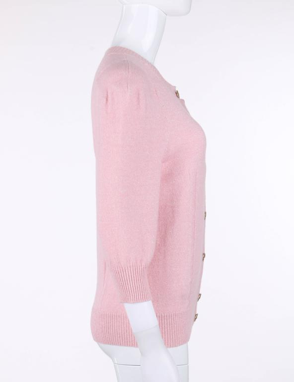 Women's CHANEL Resort 2013 Light Pink Cashmere Linen 3/4 Sleeve Knit Cardigan Sweater For Sale