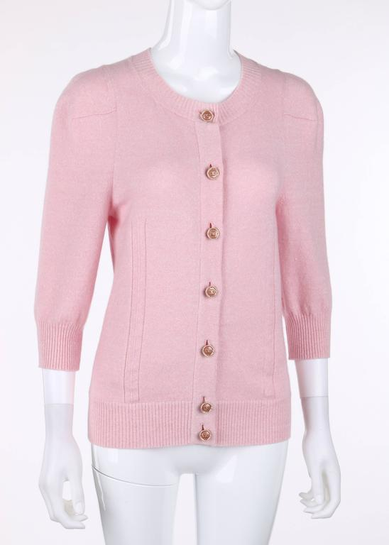 CHANEL Resort 2013 Light Pink Cashmere Linen 3/4 Sleeve Knit Cardigan Sweater 3