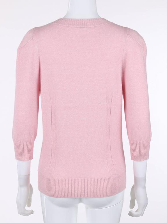 CHANEL Resort 2013 Light Pink Cashmere Linen 3/4 Sleeve Knit Cardigan Sweater For Sale 1