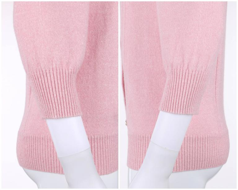 CHANEL Resort 2013 Light Pink Cashmere Linen 3/4 Sleeve Knit Cardigan Sweater For Sale 5