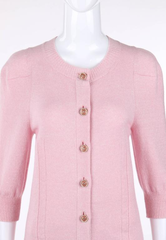 CHANEL Resort 2013 Light Pink Cashmere Linen 3/4 Sleeve Knit Cardigan Sweater 2