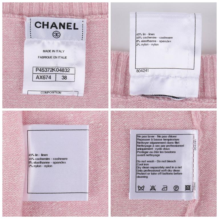 CHANEL Resort 2013 Light Pink Cashmere Linen 3/4 Sleeve Knit Cardigan Sweater For Sale 3