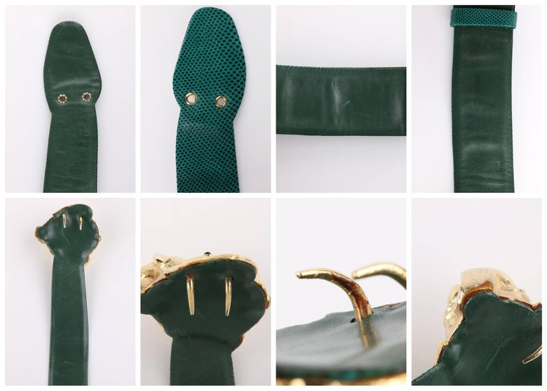 JUDITH LEIBER c.1980's Emerald Green Lizard Leather Gold Ganesh Elephant Belt 8