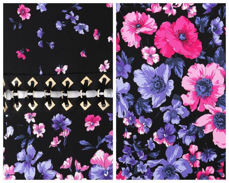 VERSACE S/S 2012 Black Multicolor Floral Print Shift Cocktail Dress NWT For Sale 3