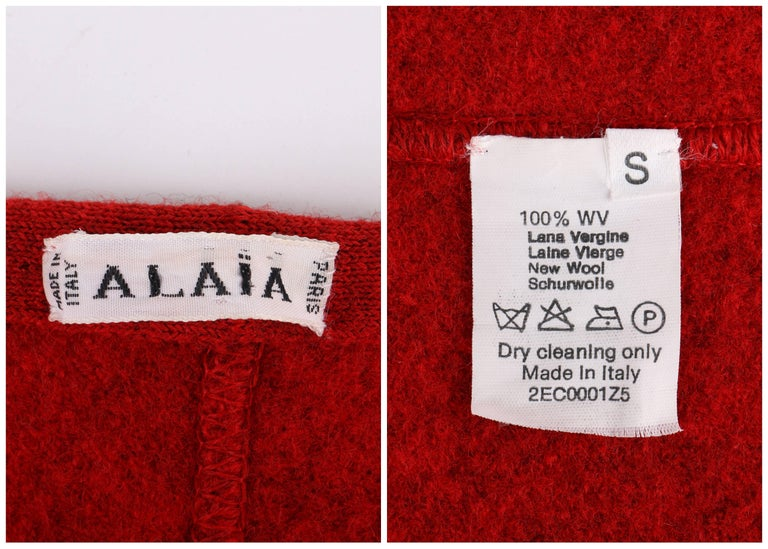 ALAIA c.1990's Red Boiled Wool Classic A-Line Skirt  For Sale 3