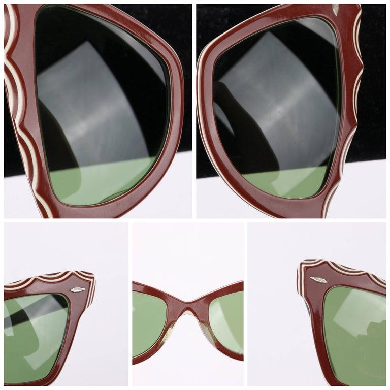 "B&L RAY-BAN c.1956 ""Zanzibar"" BAUSCH & LOMB Wine Red & White Cat Eye Sunglasses 9"