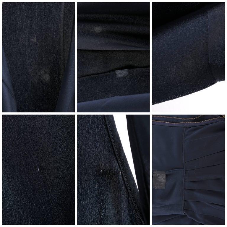 PRADA Navy Blue Silk Sleeveless Pleated Shift Cocktail Dress For Sale 3