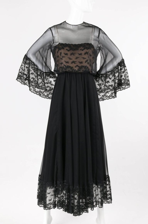 Victoria Royal Ltd C 1970 S Black Chiffon Bell Sleeve