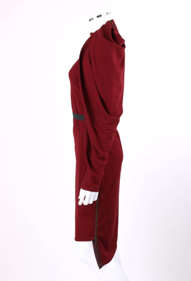LANVIN A/W 2011 Burgundy Red Wool Asymmetrical Draped Sleeve Cocktail Dress For Sale 2