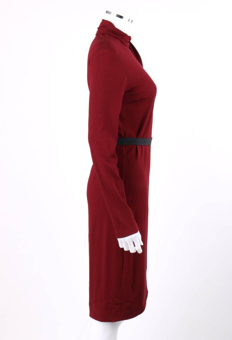 Women's LANVIN A/W 2011 Burgundy Red Wool Asymmetrical Draped Sleeve Cocktail Dress For Sale