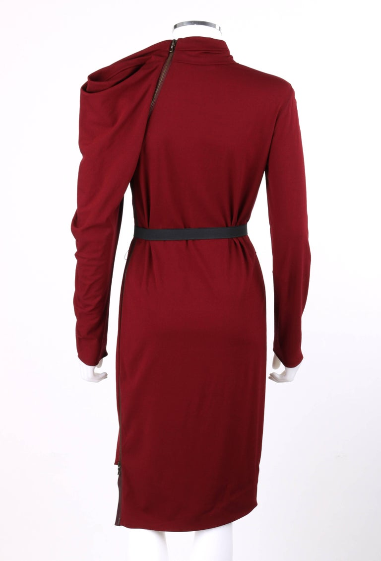 LANVIN A/W 2011 Burgundy Red Wool Asymmetrical Draped Sleeve Cocktail Dress For Sale 1