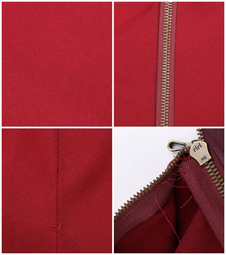 LANVIN A/W 2011 Burgundy Red Wool Asymmetrical Draped Sleeve Cocktail Dress For Sale 4