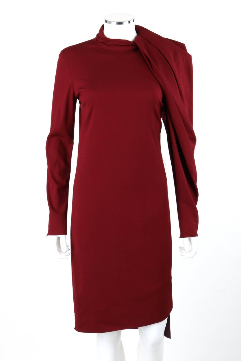 LANVIN A/W 2011 Burgundy Red Wool Asymmetrical Draped Sleeve Cocktail Dress In Excellent Condition For Sale In Thiensville, WI