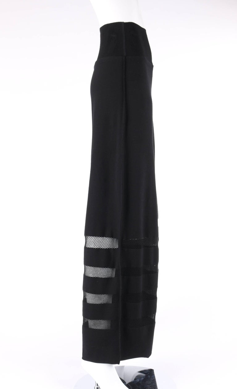 ISSEY MIYAKE A-Poc Inside DAI FUJIWARA Black Knit Mesh Detail Wide Leg Pants In New Never_worn Condition For Sale In Thiensville, WI
