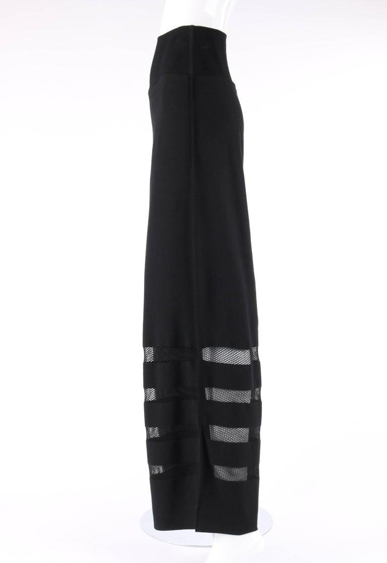 ISSEY MIYAKE A-Poc Inside DAI FUJIWARA Black Knit Mesh Detail Wide Leg Pants For Sale 1